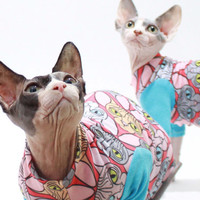 Cat Clothes Sphynx Cat Head Hearts T-Shirt Long Sleeve Cat sweater custom Pet Clothes aqua red black Chinese Crested Dog Clothes