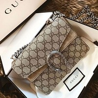 GUCCI canvas women's chain bag shoulder bag