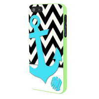 Chevron Anchor Personalized iPhone 5 Case Framed Green
