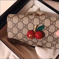 GUCCI Double G printed canvas small cherry female chain bag shoulder bag crossbody bag
