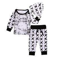 baby boy clothing set cotton long sleeved Striped t-shirt+pants+hat fashion baby boys clothes newborn infant suit
