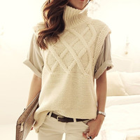 Classy coarse wire loose turtleneck sweater twist female vest
