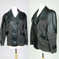 1980s black leather jacket with wool tweed, winter bomber jacket, new wave rocker
