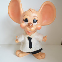 Vintage 70s, Hubron Products Co. Hard Plastic, Mouse, Piggy Bank.