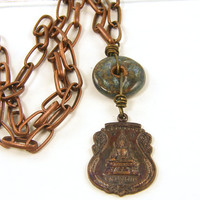Buddha Pendant Necklace - Blue Rust Copper Asian Tribal Amulet Chain Ethnic Dangle Jewelry