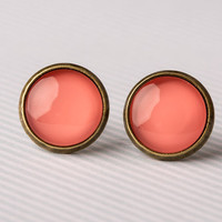 Bright Coral Glass Earrings by aRainyAfternoon on Etsy