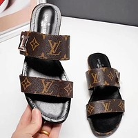 LV Fashion New Monogram Print Flip Flop Slippers Shoes Coffee