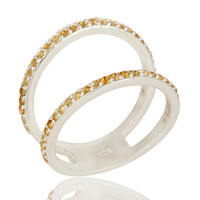 Natural Citrine Gemstone High Polish Sterling Silver Double Stacking Ring