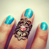 knuckle ring in pink opal