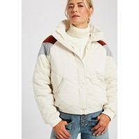 Whisper - White Colored Quilted Color Block Down Jacket