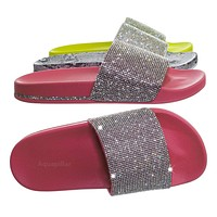 Marty Rhinestone Crystal Footbed Slipper - Women Molded Comfort Flat Sandal