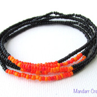 Black and Orange Seed Bead Stretch Bracelets, Set of Five, Halloween Accessory, Fall Jewelry