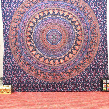 Elephant Hippie Tapestry, Hippie Mandala Wall Hanging, Cotton Bedspread Bed Cover, Boho Ethnic Mandala Tapestry, Indian Dorm Bedspread Throw