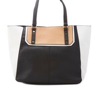 White/Black Color Block Faux Leather Tote Bag by Charlotte Russe