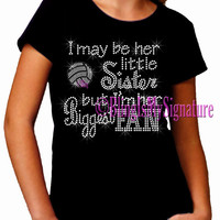 Volleyball - HER Little Sister - Biggest Fan - Iron on Kid's Rhinestone T-Shirt - Bling Transfer Shirt Top