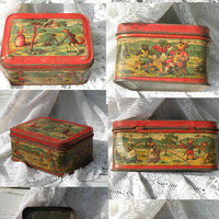 French vintage tin biscuit box, animal tin box, shabby chic, vintage tin box, French vintage, country home, fairy tale box, French fables