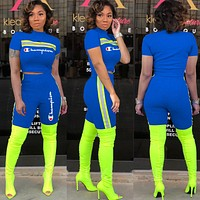 Champion Trending Woman Personality Short Sleeve Top Shorts Set Two Piece Sapphire Blue
