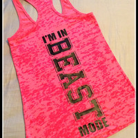 Beast Mode Super Cute and Fun Womens Fitness Tank Top Fitness Burnout Tank Top Womens Crossfit Tank. Fitness Tank Racerback Workout Tank