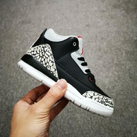 Air Jordan 3 Retro Black Cement Toddler Kid Shoes Child Sneakers - Best Deal Online