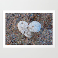 Heart Shaped Rock in the Sand Art Print by Natural Design