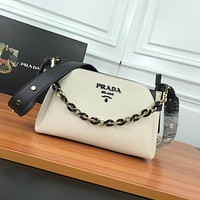 prada women leather shoulder bags satchel tote bag handbag shopping leather tote crossbody 335
