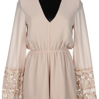 Foi Clothing Boutique — Taupe Romper with Lace Sleeves