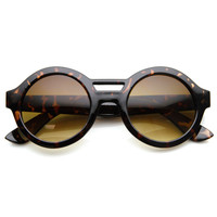 Bold Thick Frame Double Bridge Horned Rim Round Circle Sunglasses