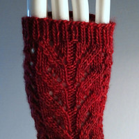 Knit Lace Fingerless Gloves, Lace Gauntlets, Christmas Red Wrist Warmers, Cranberry Red Arm Warmers, Apple Red Mitts