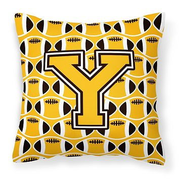 Letter Y Football Black, Old Gold and White Fabric Decorative Pillow CJ1080-YPW1414