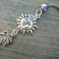 palmtree and sun belly ring  summer beach vacation memories  cruise wear boho belly dancer gypsy and hipster style
