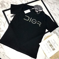 Dior 2019 new reflective letters men and women round neck half sleeve t-shirt Black