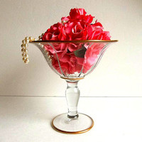 Gorgeous Vintage glass compote with gold trim tulip shape pressed glass pedestal bowl dish Mid Century centerpiece wedding hostess gift vase