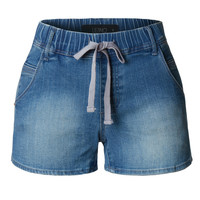 LE3NO Womens Fitted Denim Jean Shorts with Elastic Waist