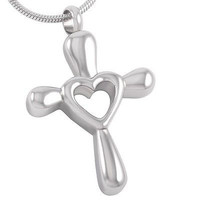 """Cremation """"Forever in My Heart"""" Cross Urn Necklace"""
