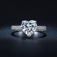 Big Heart Wedding Rings For Women white gold filled CZ diamond Jewelry Engagement vintage ring bijoux Accessories gift XKR048