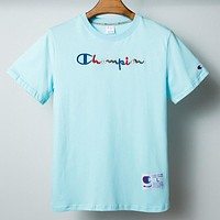 Champion New fashion embroidery letter couple top t-shirt Sky Blue
