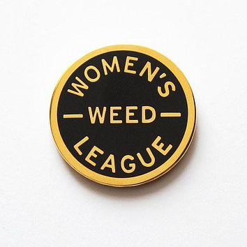 Women's Weed League Enamel Pin in Black and Gold