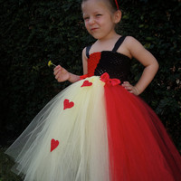 Alice in wonderland,Queen of hearts tutu dress costume with crown perfect for birthday parties or Halloween fits sizes NB-4T