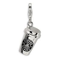 Coffee Cup Keychain Accessory High Polished Silver Plated Pendant