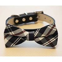 Plaid black dog bow tie attached to collar, Plaid Wedding Accessory , Wedding dog collar