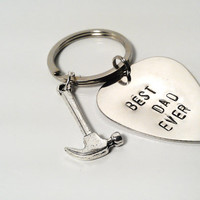 Best Dad Ever Keychain Silver Hand Stamped Guitar Pick Hammer Charm Custom Personalized Mens Man Dude Guy Family  Birthday Father's Day Gift