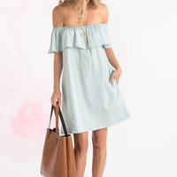 Caroline Light Denim Off the Shoulder Dress