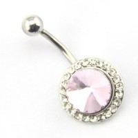 Baqi Sexy Clear & Pink Rhinestones Button Belly Navel Bar No-Dangle Ring 14G Pink
