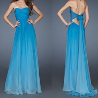 99USD Promotion!! Free Shipping! Sexy backless, New Fashion, Blue fading color, Formal Long Prom Dress, Women appare, Sweet 16, party dress