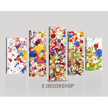 CANVAS ART Abstract 5 Panel Watercolor Splash Canvas Print Framed Giclee Gallery Wrap Wall