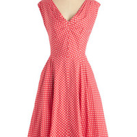 Emily and Fin Pinup Long Cap Sleeves Fit & Flare Just in Timeless Dress in Dots