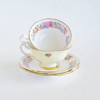 Sweet Blooms Tea for Two Bone China Cups and Saucers ENGLAND Consort Royal Grafton