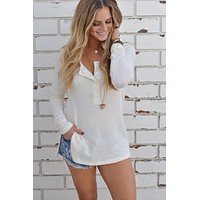 White Casual Sweater Knit Bottoming Shirt