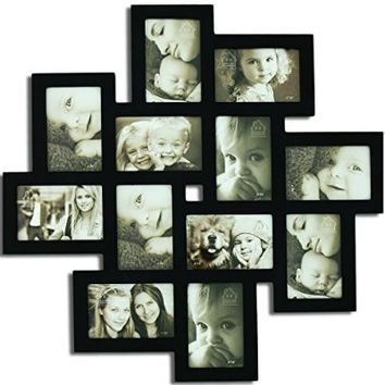 """Adeco [PF0206] Decorative Black Wood Wall Hanging Collage Picture Photo Frame, 12 Openings, 4x6"""""""