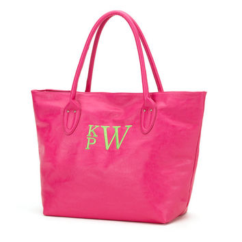 Hot Pink Tote Purse Bag  - Monogrammed Personalized Purse Leather Like